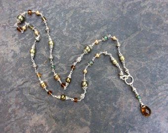 Olive Green Adjustable Y style Lariat necklace with Olive Green pearls and beads and Topaz teardrop pendant