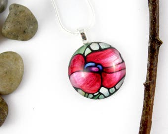 Poppy Necklace - Red Poppy Pendant - Stained-Glass Floral Jewelry - Art Nouveau Charm - Gift for Her - Circle Glass Pendant - Handmade