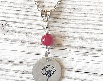 Poppy Necklace, Hand Stamped Necklace, Poppy Pendant, Silver Necklace, Poppy Jewelry, Remembrance Jewelry, Poppy Gift, Gift For Her