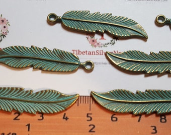 8 pcs per pack 43x10mm Feather Charm Patina Bronze Finish Lead Free Pewter