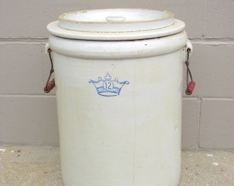 Antique CROCK 12 Gallon Blue Crown STONEWARE Robinson Ransbottom RED Bail Handles and Cover - Country Primitive Chic - Storage Bin Table