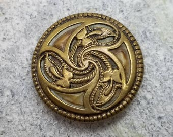Graceful Art Nouveau Triad Design of Stylized Fuchsia Flowers ~ Antique Brass Coat Button ~ 1-1/8 inch 28mm ~ Gold Metal Sewing Button