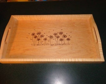 Curly Maple Serving Tray with Dandelion Scene Wood burned Table Center Piece Ready to Ship