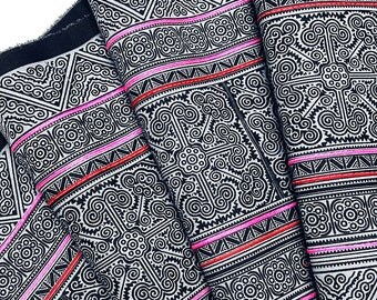 Thai Hand printed Fabric Natural Cotton Fabric by the yard Hmong Fabric Hill Tribe Fabric Vintage Fabric Indigo Batik Black Pale Blue HF22