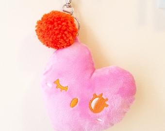 Kawaii Heart Plush Keychain