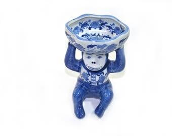 Vintage Ceramic Monkey Dish Monkey Business Card Holder Monkey Soap Dish Monkey Butler Monkey Figurine