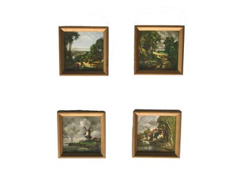 Vintage Delft Style Tiles Polychrome Tiles Pastoral Landscape Pictures Dutch Windmill Tile Set of 4 Framed Hand Painted Tiles