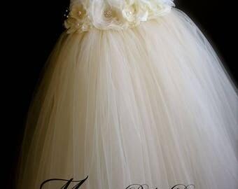 Flower Girl Dress / Ivory Flower Girl Dress / Ivory Tutu Dress
