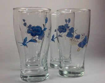 Vintage Water Glasses, Set of 4 Clear Glass, Mixed and Matched, Blue Flowers, Blue Vines, Gold Trim, Eclectic Drinkware, So Pretty!