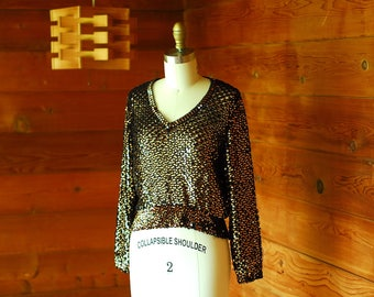 vintage 1970s black and gold sequin knit top / size xs small