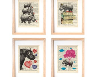 Hippo wall art-hippo set of 4 prints-hippo dictionary print-hippo wall art-hippo print-cool prints-wall art-home decor-dorm decor-DP186