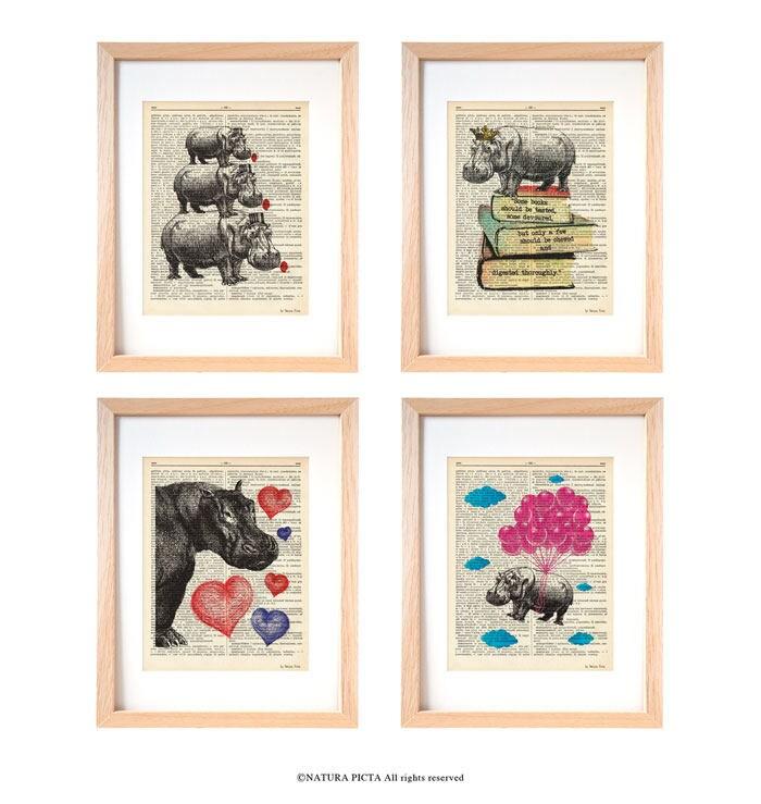 Hippo wall art-hippo set of 4 prints-hippo dictionary print-hippo ...