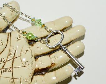 Key Necklace, Silver Key Pendant, Beaded Key Charm Necklace, Skeleton Key Jewelry, Good Luck Gift, 21st Birthday Gift, 18th Birthday Gift