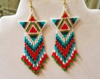 Native American Style Beaded Triangle Turquoise, Teal and Gold Earring Gypsy, Egyptian Southwestern, Boho, Hippie, Great Gift Ready to Ship