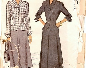 Chic Vintage 1940s McCall 7412 Two Piece Suit Dress, Jacket Blouse and Flared Skirt Sewing Pattern B36 W30