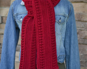 women's red scarf - neck warmer - women's crochet scarf - maroon scarf - extra long scarf - textured scarf - winter scarf - neck wrap - red