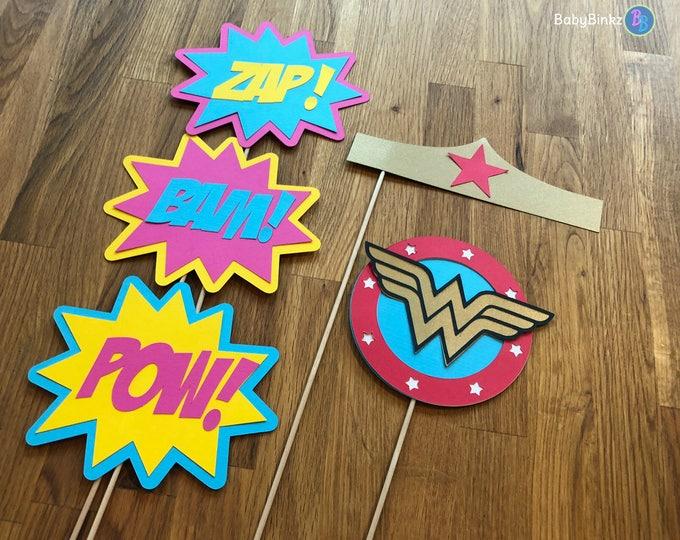 Photo Props: The Wonder Woman Inspired Super Hero Set (5 Pieces) - party wedding birthday justice league wonderwoman female centerpiece