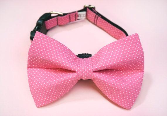 Pink Polka Dot Girl Dog Bow Tie and Collar