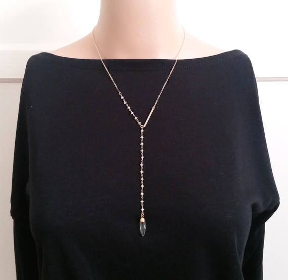 """Moonstone """"Y"""" Necklace with crystal drop, Delicate Gold Necklace, Moonstone Y necklace, White stone Gold Necklace, Great for Layering,"""