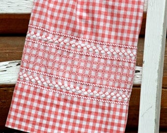 Vintage Half Apron, Peach and White Gingham, Smocking