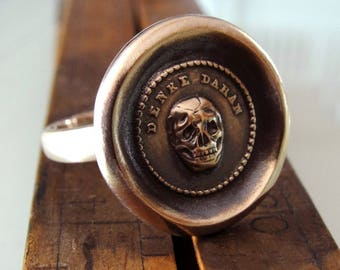 Skull Wax Seal Ring - Memento Mori - antique wax seal jewelry skull motto Think Of It by RQP Studio