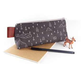 Large Bear Fabric Pencil Case Woodland Camping Hipster Fabric Grey Zipper Pouch for Men Brush Pouch Gift