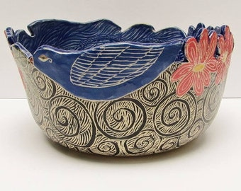 handmade ceramic bowl; ceramics and pottery bowl; hand built pottery; ceramic serving bowl; ceramic art