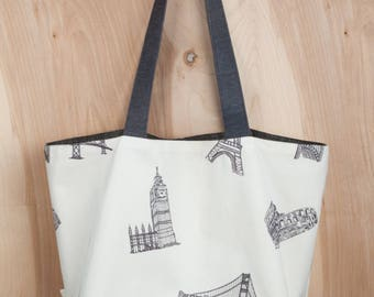 Eiffel Tower Tote bag- Big Ben Tote- Embroidered Architecture- by beckyzimmdesign