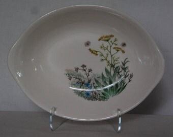Vintage Botanical Oval Ceramic Bowl
