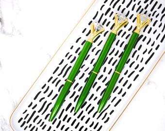 Shiny EMERALD GREEN DIAMOND Top Crystal Gem Pen, Wedding Diamond Pen, Planner Sparkle School Office Planner Supplies Desk Swarovski like pen