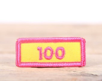 "Vintage Girl Scout Patch / 1970's-80's Scout Patch / Yellow Pink 100 Patch / Old Stock Scout Patch / 2"" Girl Scouts Patch / Scout Badge"
