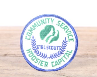 Vintage Scout Patch / 1980s Hoosier Capital Community Service Girl Scouts Patch / Girl Scout Patch / Boy Scout Patch / Grunge Patch