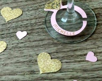 Bridal Shower Decoration, Wine Glass Marker, Bachelorette Party Decoration, Wine Tag, Pink and Gold Wedding, Wedding Decoration