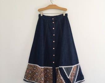 Vintage 70's Gunne Sax Denim Peasant Skirt S 24