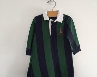 Vintage Ralph Lauren Teddy Bear Striped Girls Dress L