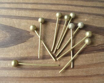 Vintage Brass 6mm Solid Ball Topped Headpins 1-5/8 inches long Heavy Duty (10)