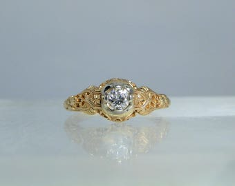 Vintage Filigree 14k Yellow Gold Diamond Engagement Ring Size 4.75 Fine Detailed Design and a Nice Quality 3.61 mm Diamond DanPickedMinerals