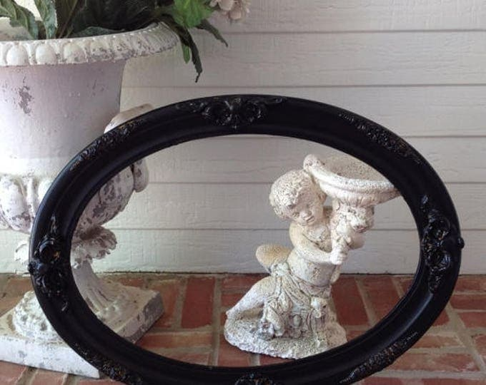 50% OFF CLEARANCE ANTIQUE Oval Frame - Shabby Chic Black Painted / holds 14 x 20 / Gesso Medallions