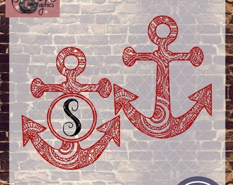 Mandala Anchor For Monogram with SVG, DXF, PNG, Eps Commercial & Personal Use
