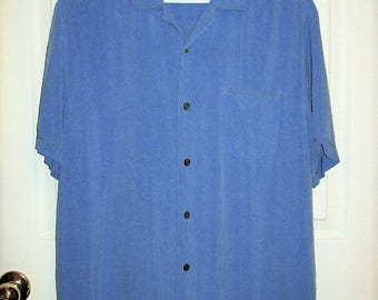 Vintage Men's Blue Silk Short Sleeve Shirt by Axis LA Large Only 7 USD