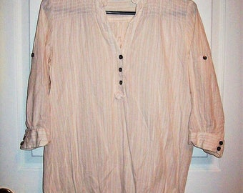 Vintage Ladies Pale Pink & White Striped Boho Blouse by Charlotte Russe Small Only 8 USD