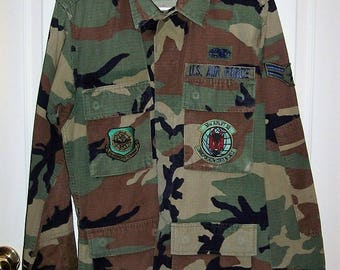 Vintage US Air Force Camouflage Light Field Jacket Military Issue Extra Small Only 12 USD