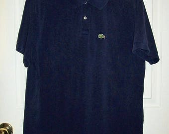 Vintage Mens Blue Polo Golf Shirt w/ Croc Logo by Izod Lacoste XXL Only 9 USD