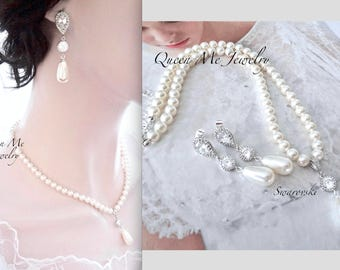Pearl necklace and earrings set, Swarovski pearl jewelry set, BEST SELLER, Brides pearl jewelry set, Wedding jewelry set, Bridal jewelry
