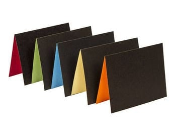 Chalkboard Cards Set of ten Black with colorful interiors and white envelopes