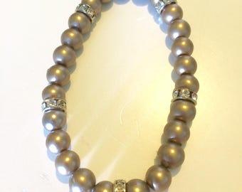 Gold Pearl & Rhinestone Stretch Bracelet
