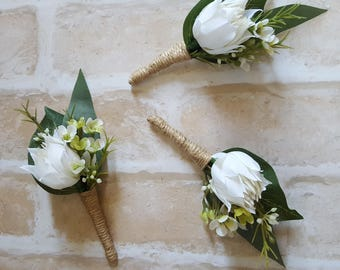 Buttonhole / Boutonniere - rustic, country garden style buttonhole, white blushing bride, mini protea, green and white Geraldton wax flower