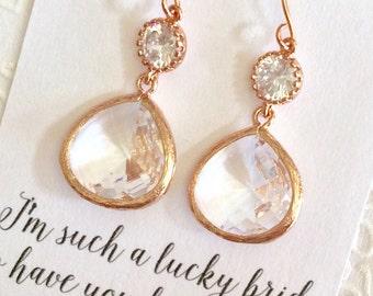 Bridesmaid Earrings SHIPS TOMORROW Bridesmaid Gift Jewelry Set Bridal Earrings Necklace Bridesmaids Jewelry Bridal Jewelry Gift Limonbijoux