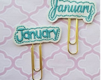 "January word vinyl planner paperclip, ""January"" month bookmark, Choice of font January vinyl planner paperclip, planner paperclip accessory"