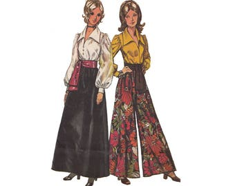 70s Blouse Skirt Pantskirt and Sash Vintage Simplicity Sewing Pattern 5235 Narrow Shoulder High Sleeve Large Collar Palazzo Pants Bust 36
